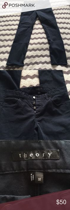 """Theory pants Worn, husbands favorite pair of pants, but they no longer fit. Inseam 32"""". Dark blue, buttons instead of zipper. Really good quality just don't fit him anymore, will trade for a size 32. Theory Pants Chinos & Khakis"""