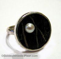 Silber Ring mit Kokosnuss und Perle