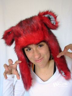 Fuzzy Aviator hat Red Husky hat ZOMBIE lining by MostlyMonstersCV