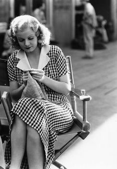 Jean Harlow on the set of Riffraff 1936