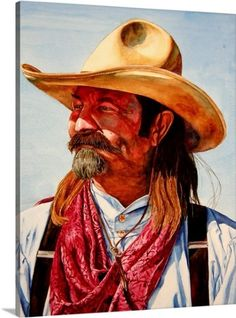 Laurin McCracken Premium Thick-Wrap Canvas Wall Art Print entitled Cowboy With Red Kerchief Canvas Wall Art, Wall Art Prints, Poster Prints, Canvas Prints, Cowboy Pictures, Eagle Art, Real Cowboys, Cowboy Art, Character Portraits