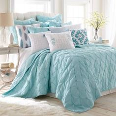 Look at this Teal Spa Pin Tuck Quilt Set Bedroom Turquoise, Gray Bedroom, Bedroom Colors, Home Bedroom, Bedroom Decor, Bedroom Ideas, Master Bedroom, Teal Bedspread, Coastal Bedrooms