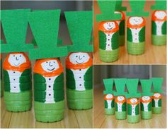 Salsa Pie: DIY Leprechaun Bowling Pins - St. Patrick's Day craft ideas, easy, kid friendly