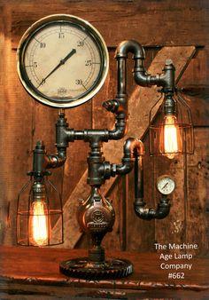 Steampunk Industrial Steam Gauge Lamp, #662