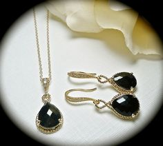 Black Necklace and Earring set  Gold filled by QueenMeJewelryLLC