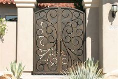 Iron Double Gates - mediterranean - fencing - phoenix - Colletti Design Iron Doors