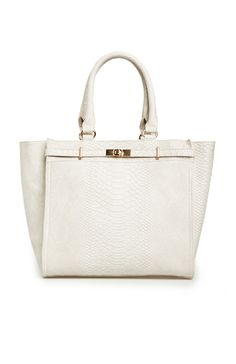 Reptile Embossed Work Tote in Ivory