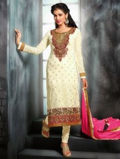 Off White Georgette Suit With Resham And Zari Embroidery Work