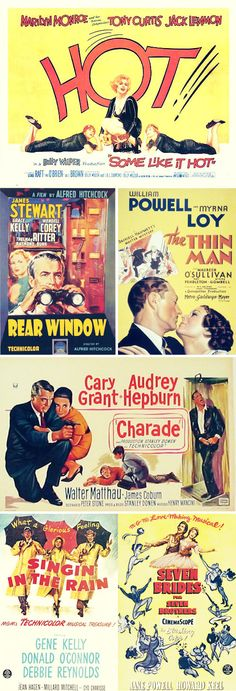 Vintage movie posters | Some Like It Hot, Rear Window, The Thin Man, Charade, Singing In The Rain, Seven Brides For Seven Brothers