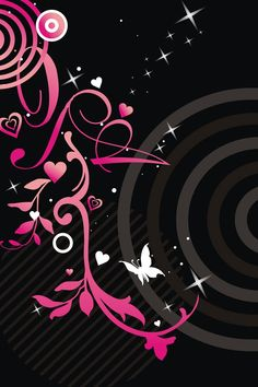 Pink and Black iPhone Wallpaper | Pink flowers and black background
