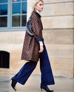 OUT N' ABOUT: Fabulous @carodaur yet again showing off inspiring fingertip feeling for fashion during #parishautecouture  #louisvuitton #fannypack #streetfashion