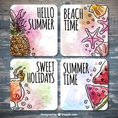 cartões Aguarela do verão com desenhos