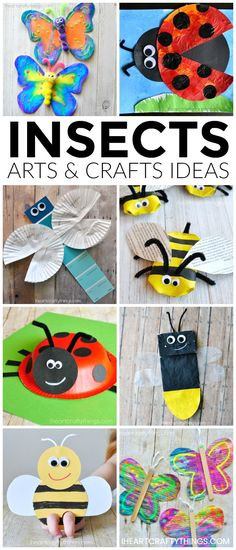 Here are over 25 amazing insects arts and crafts ideas kids of all ages will enjoy. Looking for fun spring kid craft ideas? Check out these creative butterfly crafts, bee crafts, ladybug crafts, dragonfly crafts and lightning bug crafts. by myrna Preschool Crafts, Kids Crafts, Craft Projects, Craft Ideas, Arts And Crafts For Kids Toddlers, Kids Diy, Decor Crafts, Creative Activities For Toddlers, Day Camp Activities