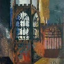 Coventry Cathedral, November, 1940 by John Piper Edward Hopper, John Piper Artist, Kitsch, Coventry Cathedral, Architecture Artists, Original Art For Sale, A Level Art, Urban Landscape, Landscape Paintings