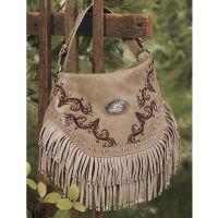 Embroidered Fringe Handbag