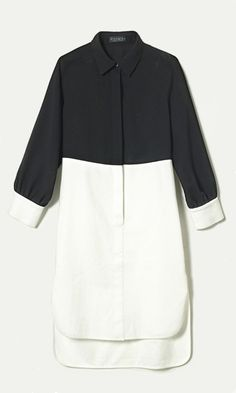 black and white colorblock shirt dress