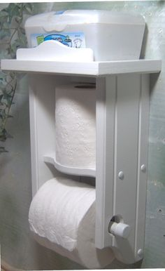 White toilet paper holder extra roll with shelf. $29.50, via Etsy.