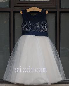 Ivory Dress &Navy blue lace Navy blue ribbon Wedding Flower Girls Dress Tulle Rustic Baby Birthday Dress