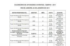 CAP 3.1 - Saúde Presente na AP 3.1: CALENDÁRIO DE ATIVIDADES E EVENTOS – SUBPAV - 2011
