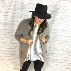 Rose Gray Faux Fur Cardigan MRose Faux Fur Pocket Coat. One size fits most! 60% Cotton and 40% Acrylic. Don't miss out on this super cozy cardigan. It's like being wrapped in a blanket all day. Who doesn't love that feeling?! Tea n Cup Sweaters Cardigans