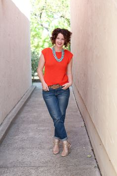 what i'm wearing {turquoise stones necklace} orange sweater, boyfriend jeans