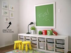 love the painted Trofast cabinets from Ikea under the chalkboard.