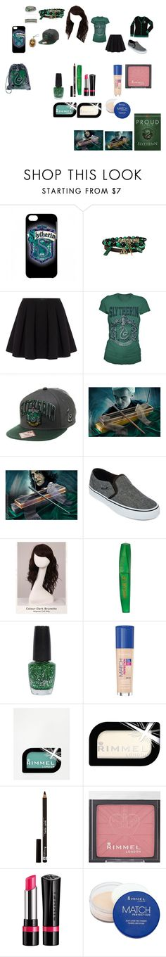 """""""Slytherin Queen"""" by jaay-2015 ❤ liked on Polyvore featuring Polo Ralph Lauren, Vans, WigYouUp, Rimmel and OPI"""