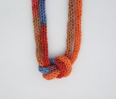 Autumn Sunset Knitted Knotted Necklace