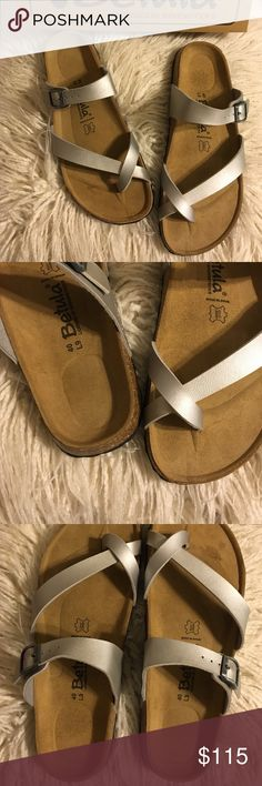 Final price❗️Birkenstock Mia Slip-on Sandal Brand new never used Betula licensed by Birkenstock Mia slip-on sandals. Color is silver. Size 40 (9) / strap can be adjusted to fit bigger/smaller.   🚫No trades 🚫No lowballing ✅Bundle Discount 💯 Authentic items  ✨purchase at listed price get a free gift✨ Birkenstock Shoes Sandals