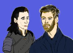Loki and Thor.  Fanart by Abigail H. Leskey, credit to Marvel, references: https://news.marvel.com/movies/61789/thor-ragnarok-brings-thunder-9-new-images/