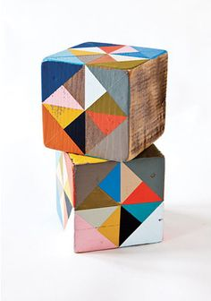 Put two of these together for a fun coffee table/ or use as two smaller side tables