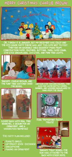 Charlie Brown Christmas party ideas~ popcorn holders our of Peanuts comic strip and cute Snoopy treat boxes;)