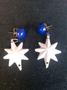 50s ATOMIC Stars Drop Style Earrings Blue 1950s by Flipsville