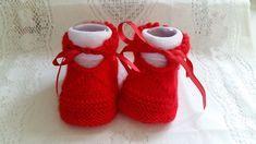 Receita Tricô Fácil Sapatinho vermelho Em Trico Para Bebe Solinha Marcada Receita completa Material Lã super Bebê usei ...