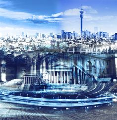 Bespoke commissioned piece of a Johannesburg cityscape by Janet Botes for one of our corporate customers. South African Artists, Artwork Display, Bespoke, New York Skyline, Original Art, Gallery, Travel, Taylormade, Viajes