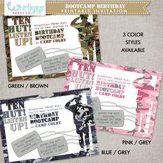 Army Bootcamp Birthday Invitation Printable #armyparty #bootcampbirthday