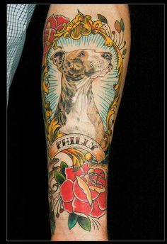 Inspiration for my memorial tattoos for Mini and Ginny. Never though I'd be the type, but it's been a year and I'm still stuck on the idea. It must be done. Something like this, but with a lighter touch. And wild flowers buzzing with bees instead of roses.  -amazing pet portrait by jen lee at tattoo city in SF