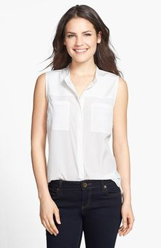Halogen® Banded Collar Sleeveless Blouse (Regular & Petite) available at #Nordstrom
