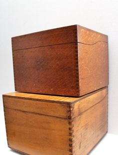 vintage pair of wood file or larger recipe boxes by RedTuTuRetro, $40.00