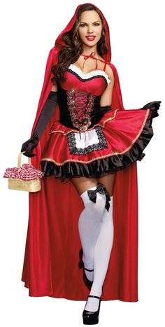 Wolf Red Riding Hood Ladies Fancy Dress Costume Womans Halloween Bedroom Fairy