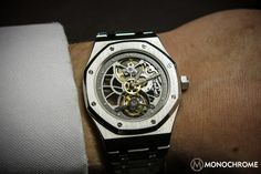 "SPOTTED: Prototype Audemars Piguet Royal Oak 40th Anniversary Skeleton Tourbillon in Stainless Steel - see this story and more in our most recent round-up, BEST FROM: aBlogtoWatch & Friends February 14, 2014 ""In the world of high-end watches, it is sometimes the stainless steel pieces that are most sought after. Why? Usually it is because they are produced in extremely limited numbers or only for very special customers..."""