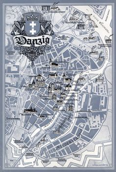 Danzig Map - Merian Magazine Danzig, Germany And Prussia, Merian, Old Photographs, Krakow, Maps, City Photo, Cities, Magazine