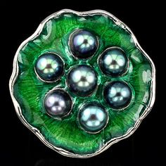 FREE SHIPPING! NATURAL TOP BLACK TAHITAN COLOR PEARL 925 SILVER ENAMEL RING Sz 9 #Cluster