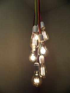 Modern Pendant Lighting   Bare Bulb Cluster Modern Chandelier   Custom  Rainbow Cloth Cords   Industrial