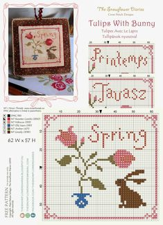 The Snowflower Diaries: Tulips With Bunny /Tulipes Avec Le Lapin (2013) - free pattern / grille gratuit.