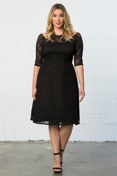 Our plus size Audrey Lace Dress, featuring trendy geo lace instead of floral, is another great addition to your LBD collection. Shop our entire made in the USA assortment online at www.kiyonna.com.