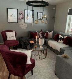 Maroon Living Room parts can add a contact of fashion and design to any residence. Maroon Living Room can imply many things to many individuals, but all of them… Burgundy Living Room, Living Room Grey, Home Living Room, Grey Room, Apartment Living, Small Living Room Furniture, Apartment Ideas, Maroon Living Rooms, Living Room Ideas Red And Grey