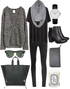 Grey sweater, black shirt, light grey scarf, black skinnies, sunnies, black tote, black watch, black booties #outfit #style