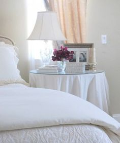 Bedside Table Round With Simple Linen