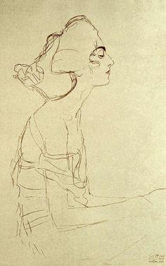 Portrait Drawing Gustav Klimt a woman Figure Drawing, Line Drawing, Painting & Drawing, Gustav Klimt, Sgraffito, Egon Schiele Zeichnungen, Egon Schiele Drawings, Art Sketches, Art Drawings